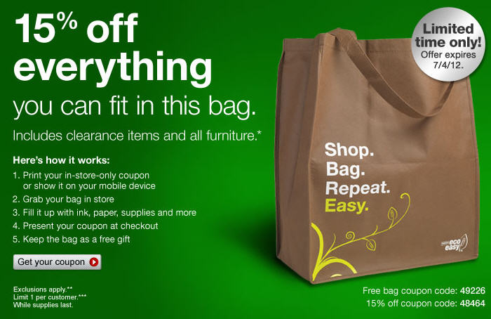 Free bag coupon staples