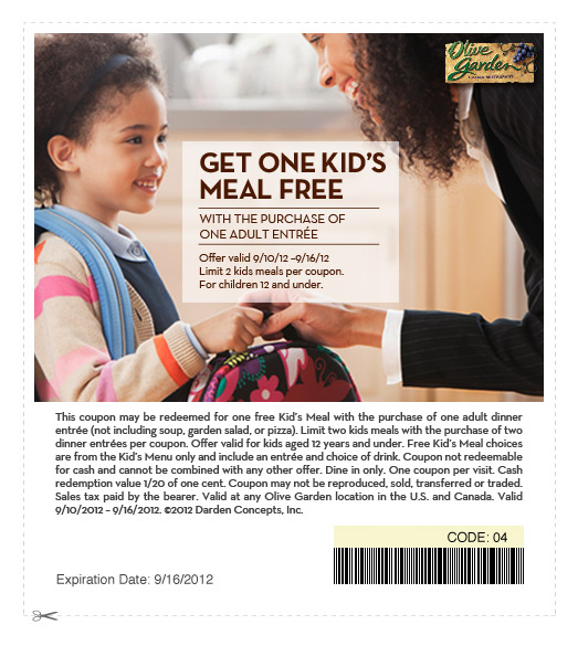One Kid U2019s Meal Free With Purchase Of Adult Entree At Olive Garden
