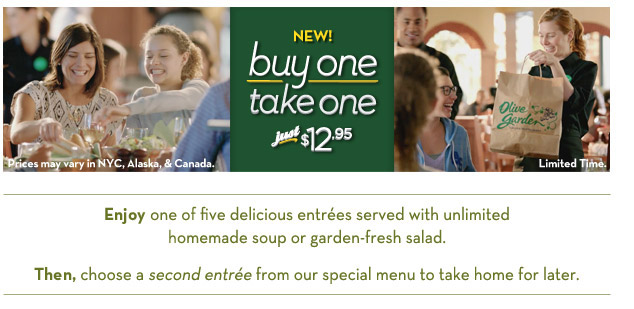 Buy One Entree Take One Home For Free At Olive Garden Coupongy