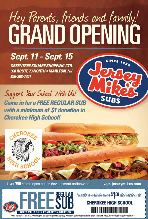 photograph relating to Jersey Mike's Printable Coupons titled Jersey Mikes Subs Grand Opening No cost* Sub Bundle Within just Marlton