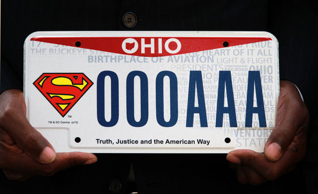 Truth justice and the american way superman license for Bureau of motor vehicles delaware ohio