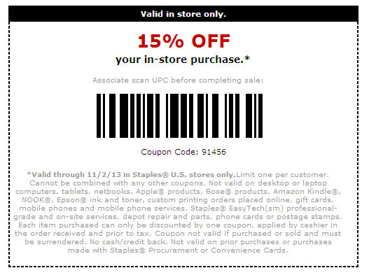Staples in store coupons november 2018