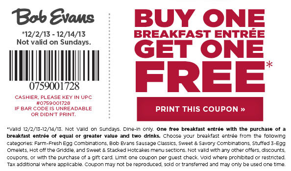 bob evans buy one breakfast get one free