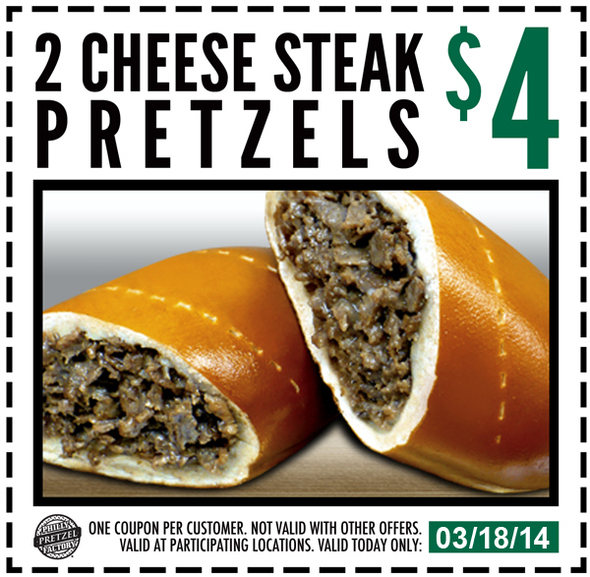 picture relating to Philly Pretzel Factory Coupons Printable called 2 Cheese Steak Pretzels For $4 At Philly Pretzel Manufacturing unit