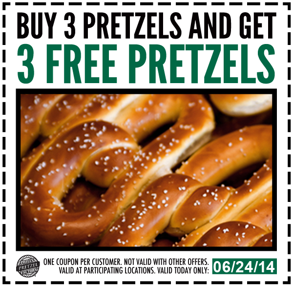graphic about Philly Pretzel Factory Coupons Printable known as Purchase 3 Pretzels And Just take 3 Cost-free Pretzels At Philly Pretzel